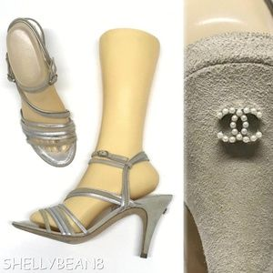 CHANEL Strappy Suede Sandals Heels PEARL CC 39.5 9